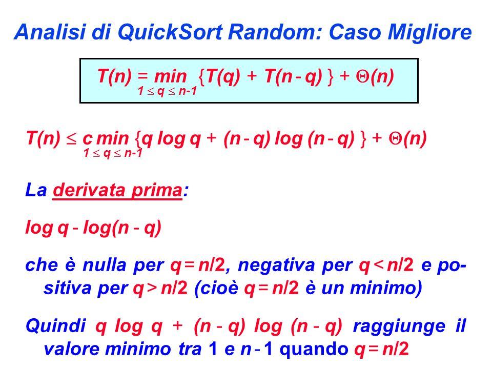 Analisi di QuickSort Random: Caso Migliore T(n) = min {T(q) + T(n - q) } + (n) 1 q n-1 T(n) c min {q log q + (n - q) log (n - q) } + (n) 1 q n-1 La derivata prima: log q - log(n - q) che è nulla per q = n/2, negativa per q n/2 (cioè q = n/2 è un minimo) Quindi q log q + (n - q) log (n - q) raggiunge il valore minimo tra 1 e n - 1 quando q = n/2