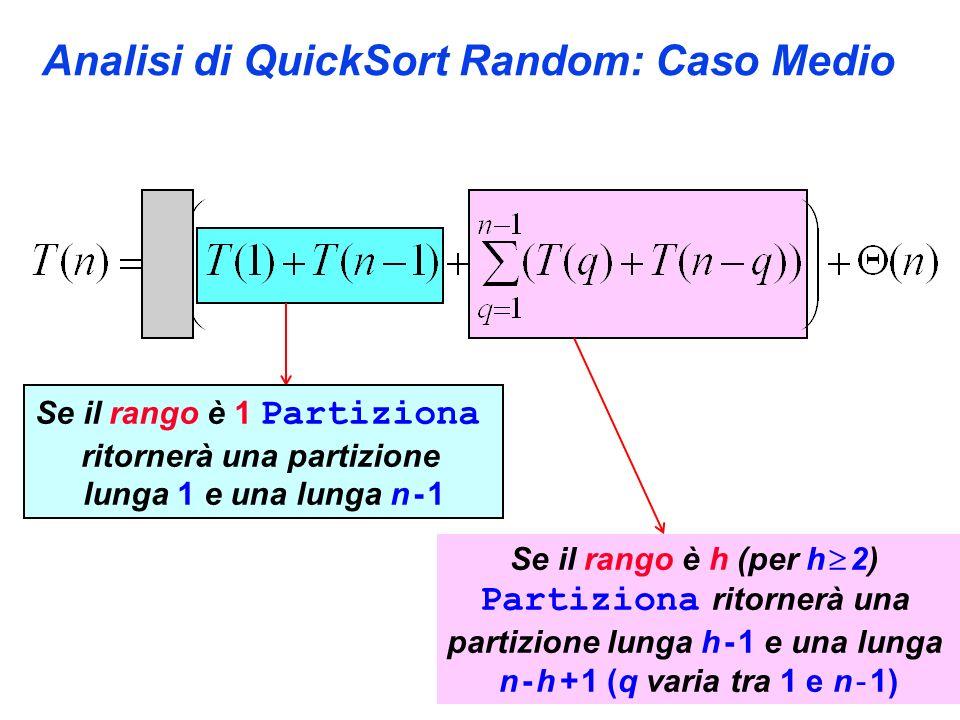Analisi di QuickSort Random: Caso Medio Se il rango è 1 Partiziona ritornerà una partizione lunga 1 e una lunga n - 1 Se il rango è h (per h 2) Partiziona ritornerà una partizione lunga h - 1 e una lunga n - h + 1 (q varia tra 1 e n - 1)