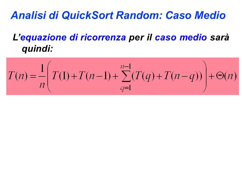 Analisi di QuickSort Random: Caso Medio Lequazione di ricorrenza per il caso medio sarà quindi: