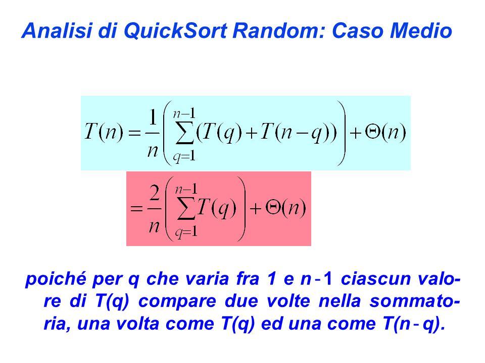 Analisi di QuickSort Random: Caso Medio poiché per q che varia fra 1 e n - 1 ciascun valo- re di T(q) compare due volte nella sommato- ria, una volta come T(q) ed una come T(n - q).