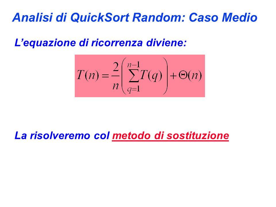 Analisi di QuickSort Random: Caso Medio Lequazione di ricorrenza diviene: La risolveremo col metodo di sostituzione