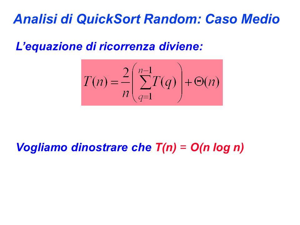 Analisi di QuickSort Random: Caso Medio Lequazione di ricorrenza diviene: Vogliamo dinostrare che T(n) = O(n log n)