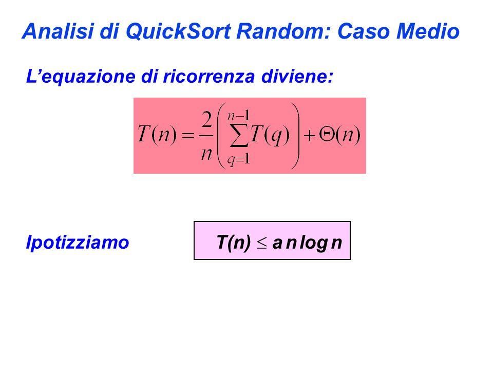 Analisi di QuickSort Random: Caso Medio Lequazione di ricorrenza diviene: Ipotizziamo T(n) a n log n