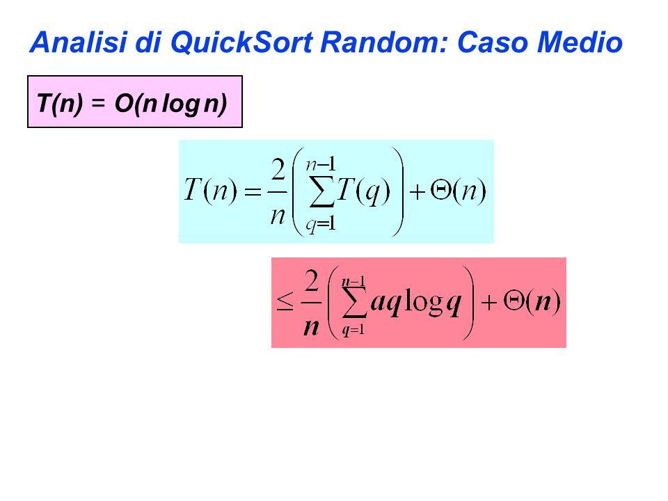 Analisi di QuickSort Random: Caso Medio T(n) = O(n log n)