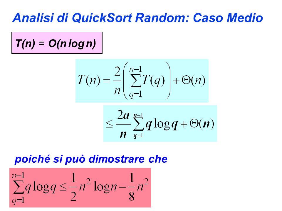 Analisi di QuickSort Random: Caso Medio T(n) = O(n log n) poiché si può dimostrare che
