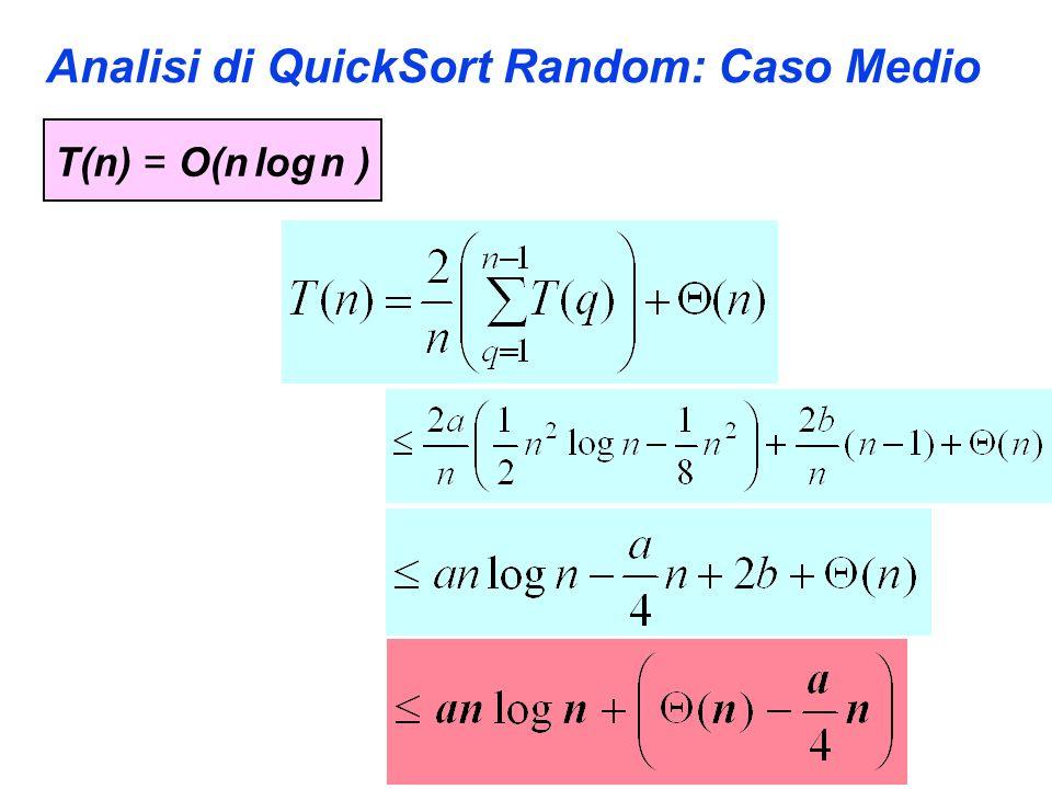 Analisi di QuickSort Random: Caso Medio T(n) = O(n log n )