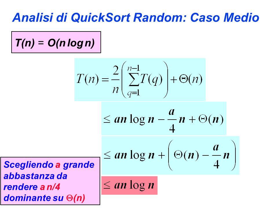 Analisi di QuickSort Random: Caso Medio T(n) = O(n log n) Scegliendo a grande abbastanza da rendere a n/4 dominante su (n)
