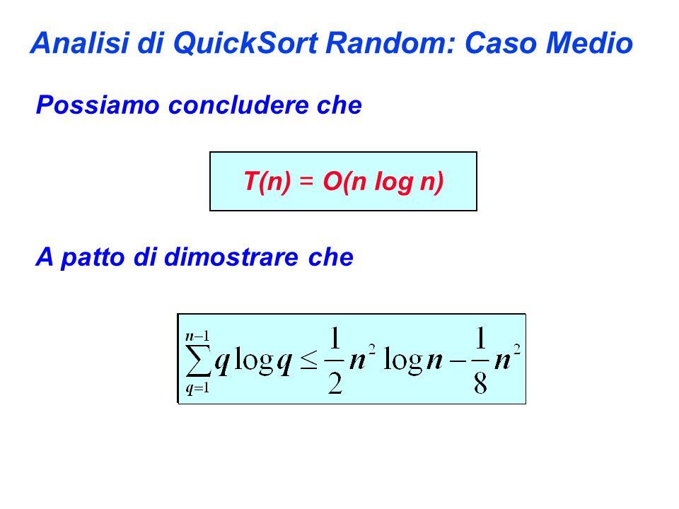 Analisi di QuickSort Random: Caso Medio Possiamo concludere che T(n) = O(n log n) A patto di dimostrare che