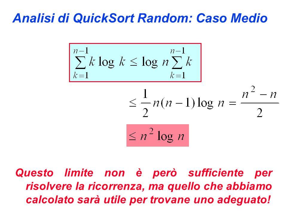 Analisi di QuickSort Random: Caso Medio Questo limite non è però sufficiente per risolvere la ricorrenza, ma quello che abbiamo calcolato sarà utile per trovane uno adeguato!