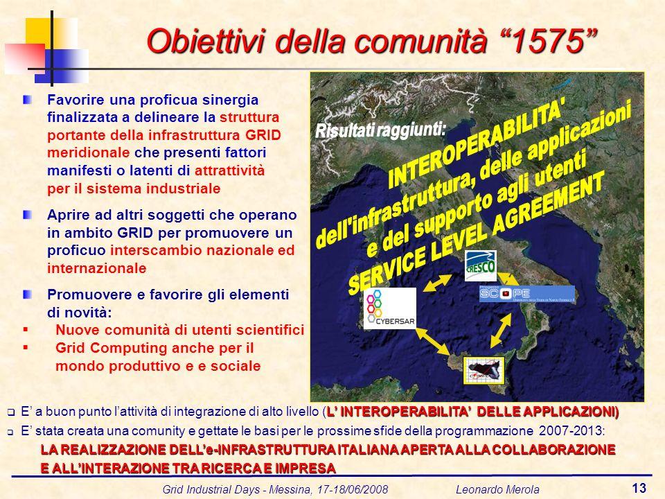 Grid Industrial Days - Messina, 17-18/06/2008 Leonardo Merola 13 Favorire una proficua sinergia finalizzata a delineare la struttura portante della in