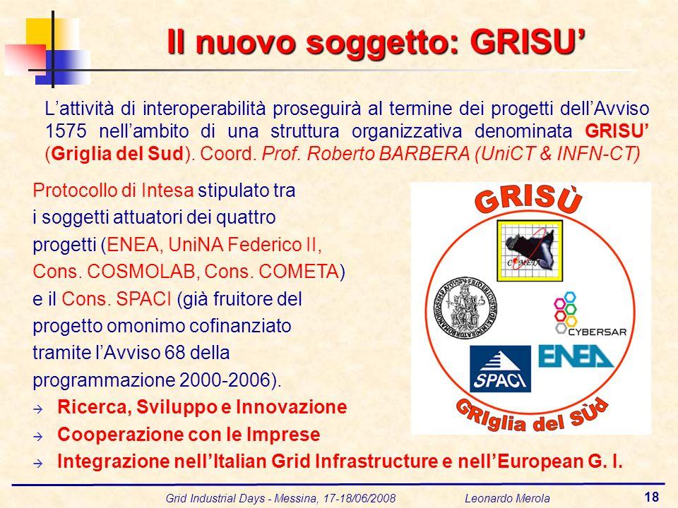 Grid Industrial Days - Messina, 17-18/06/2008 Leonardo Merola 18 Il nuovo soggetto: GRISU Lattività di interoperabilità proseguirà al termine dei progetti dellAvviso 1575 nellambito di una struttura organizzativa denominata GRISU (Griglia del Sud).
