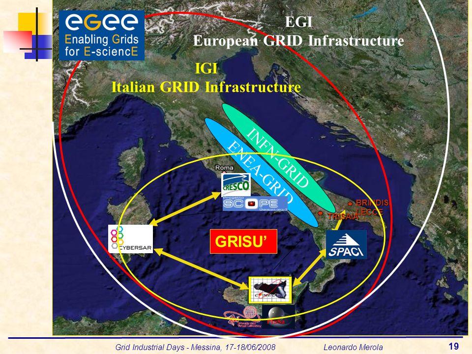 Grid Industrial Days - Messina, 17-18/06/2008 Leonardo Merola 19 PORTICI BRINDISILECCE ENEA-GRID TRISAIA GRISU INFN-GRID IGI Italian GRID Infrastructure EGI European GRID Infrastructure