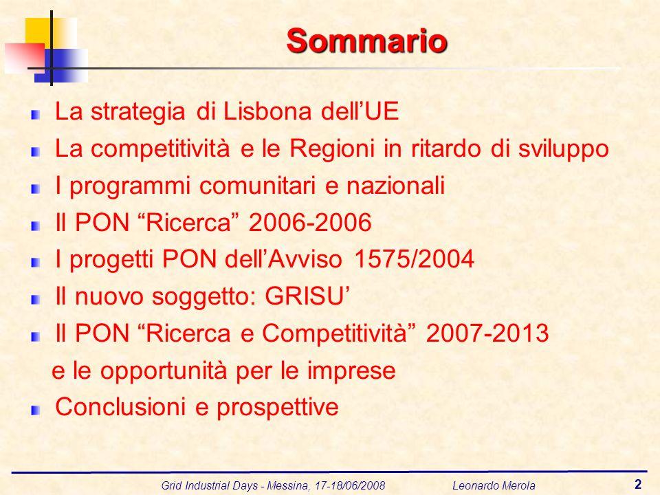 Grid Industrial Days - Messina, 17-18/06/2008 Leonardo Merola 2 Sommario La strategia di Lisbona dellUE La competitività e le Regioni in ritardo di sv
