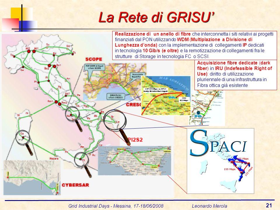 Grid Industrial Days - Messina, 17-18/06/2008 Leonardo Merola 21 La Rete di GRISU Realizzazione di un anello di fibre che interconnetta i siti relativ