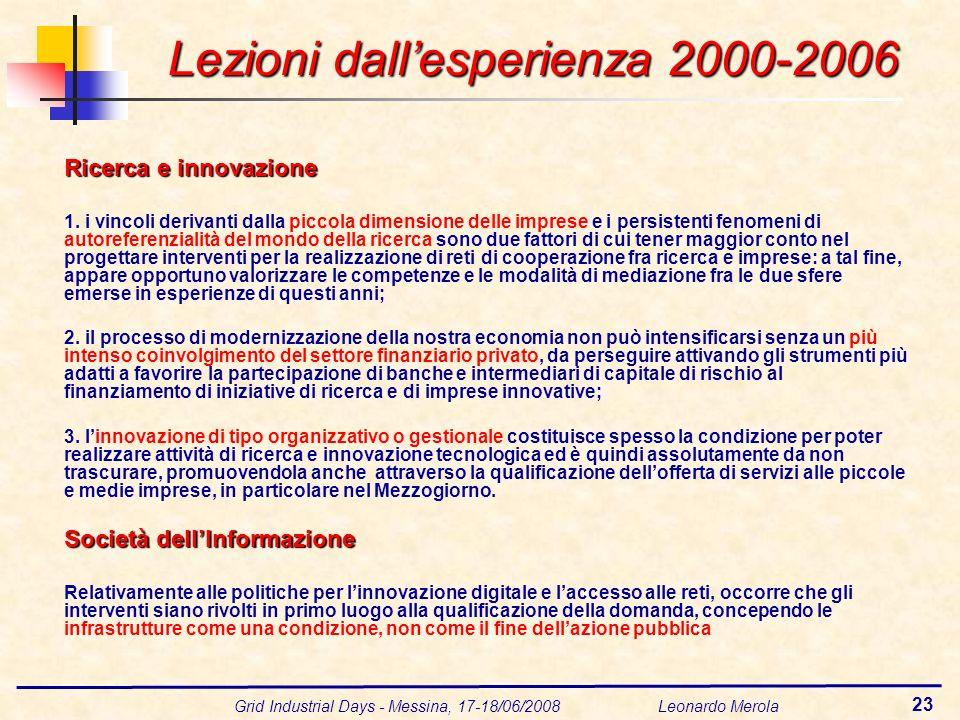 Grid Industrial Days - Messina, 17-18/06/2008 Leonardo Merola 23 Lezioni dallesperienza 2000-2006 Ricerca e innovazione 1. i vincoli derivanti dalla p