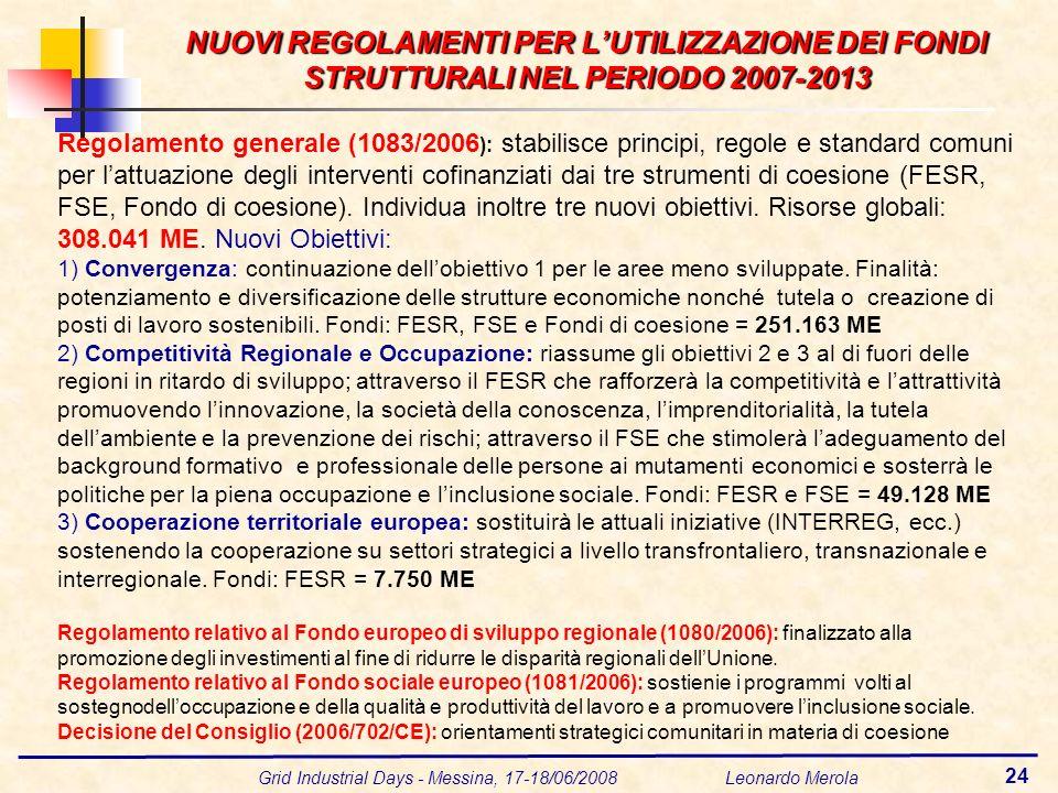 Grid Industrial Days - Messina, 17-18/06/2008 Leonardo Merola 24 NUOVI REGOLAMENTI PER LUTILIZZAZIONE DEI FONDI STRUTTURALI NEL PERIODO 2007-2013 Rego