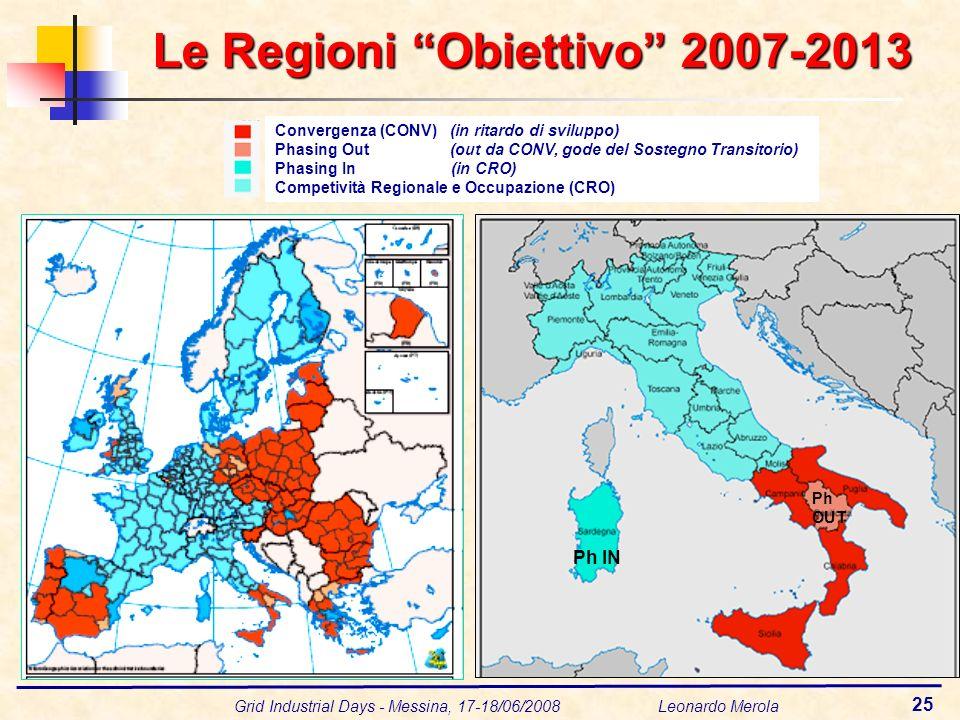 Grid Industrial Days - Messina, 17-18/06/2008 Leonardo Merola 25 Le Regioni Obiettivo 2007-2013 Convergenza (CONV) (in ritardo di sviluppo) Phasing Ou