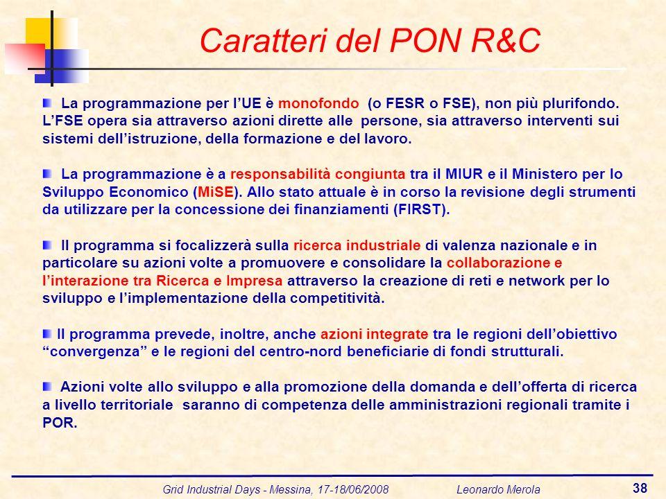 Grid Industrial Days - Messina, 17-18/06/2008 Leonardo Merola 38 La programmazione per lUE è monofondo (o FESR o FSE), non più plurifondo. LFSE opera