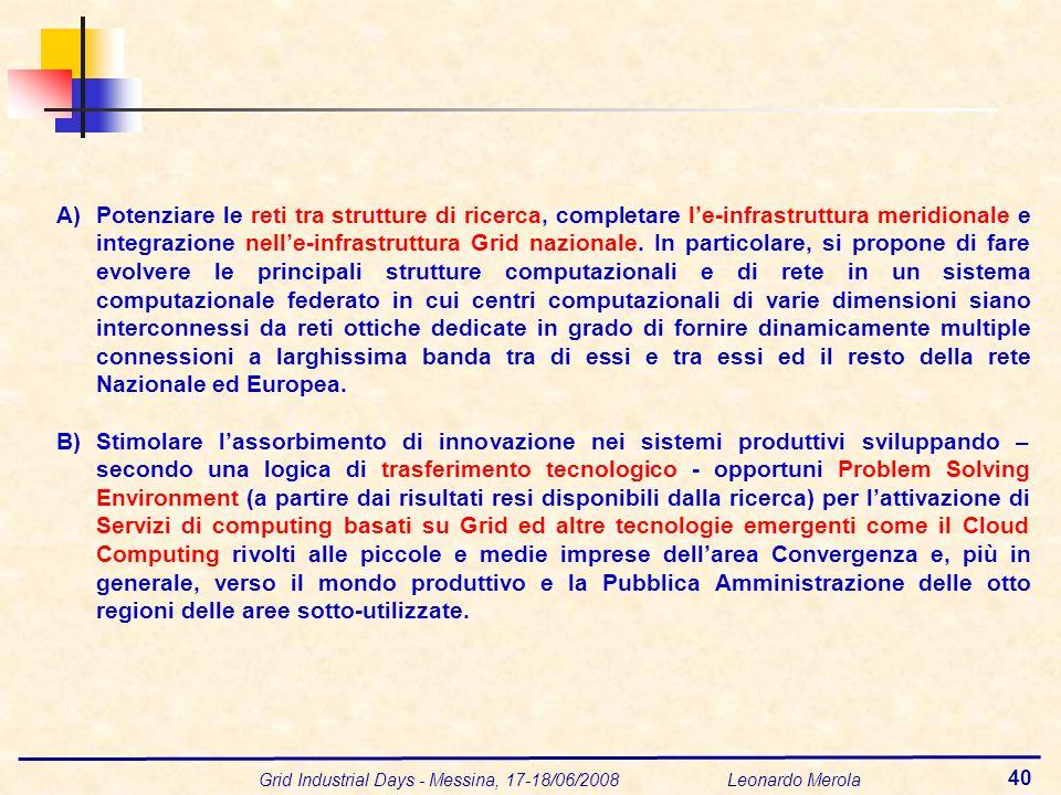 Grid Industrial Days - Messina, 17-18/06/2008 Leonardo Merola 40 A)Potenziare le reti tra strutture di ricerca, completare le-infrastruttura meridionale e integrazione nelle-infrastruttura Grid nazionale.