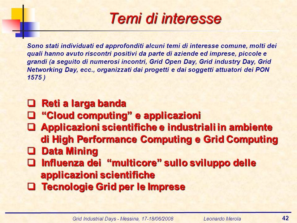 Grid Industrial Days - Messina, 17-18/06/2008 Leonardo Merola 42 Temi di interesse Sono stati individuati ed approfonditi alcuni temi di interesse com
