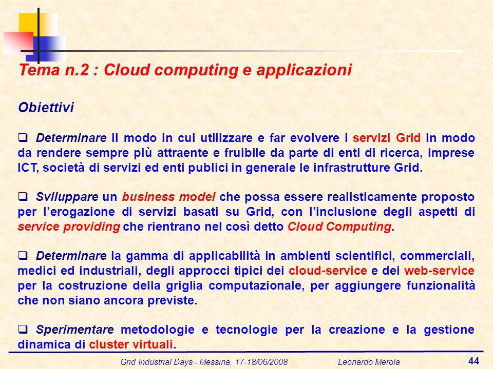 Grid Industrial Days - Messina, 17-18/06/2008 Leonardo Merola 44 Tema n.2 : Cloud computing e applicazioni Obiettivi Determinare il modo in cui utilizzare e far evolvere i servizi Grid in modo da rendere sempre più attraente e fruibile da parte di enti di ricerca, imprese ICT, società di servizi ed enti publici in generale le infrastrutture Grid.