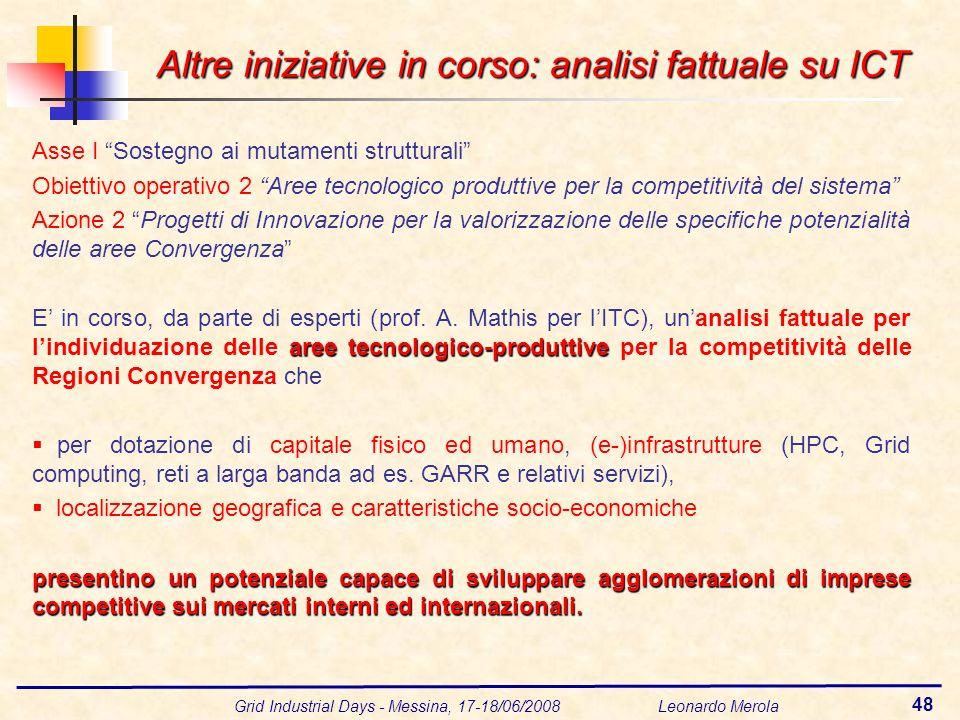 Grid Industrial Days - Messina, 17-18/06/2008 Leonardo Merola 48 Altre iniziative in corso: analisi fattuale su ICT Asse I Sostegno ai mutamenti strutturali Obiettivo operativo 2 Aree tecnologico produttive per la competitività del sistema Azione 2 Progetti di Innovazione per la valorizzazione delle specifiche potenzialità delle aree Convergenza aree tecnologico-produttive E in corso, da parte di esperti (prof.