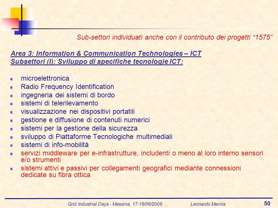 Grid Industrial Days - Messina, 17-18/06/2008 Leonardo Merola 50 Area 3: Information & Communication Technologies – ICT Subsettori (I): Sviluppo di sp