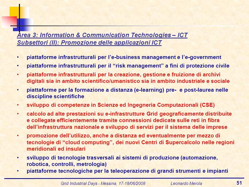 Grid Industrial Days - Messina, 17-18/06/2008 Leonardo Merola 51 Area 3: Information & Communication Technologies – ICT Subsettori (II): Promozione de