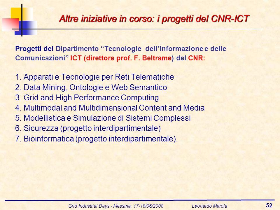 Grid Industrial Days - Messina, 17-18/06/2008 Leonardo Merola 52 Progetti del Dipartimento Tecnologie dellInformazione e delle Comunicazioni ICT (direttore prof.