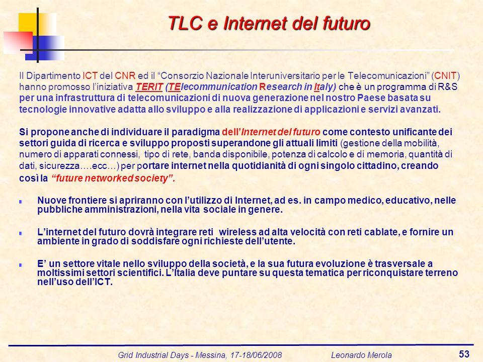 Grid Industrial Days - Messina, 17-18/06/2008 Leonardo Merola 53 Il Dipartimento ICT del CNR ed il Consorzio Nazionale Interuniversitario per le Telecomunicazioni (CNIT) hanno promosso liniziativa TERIT (TElecommunication Research in Italy) che è un programma di R&S per una infrastruttura di telecomunicazioni di nuova generazione nel nostro Paese basata su tecnologie innovative adatta allo sviluppo e alla realizzazione di applicazioni e servizi avanzati.
