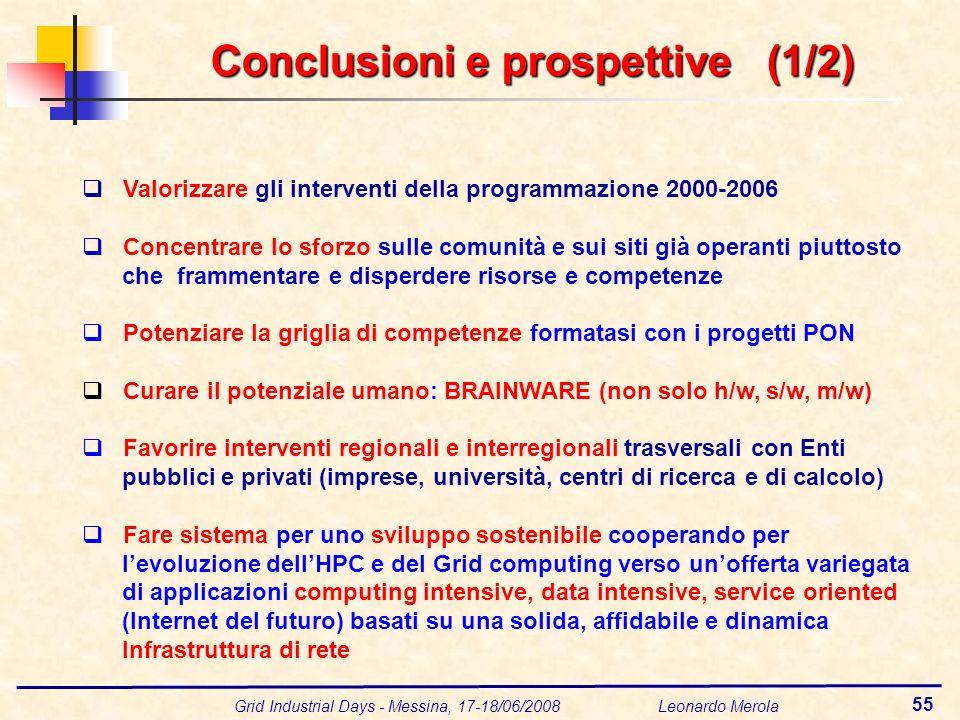 Grid Industrial Days - Messina, 17-18/06/2008 Leonardo Merola 55 Valorizzare gli interventi della programmazione 2000-2006 Concentrare lo sforzo sulle