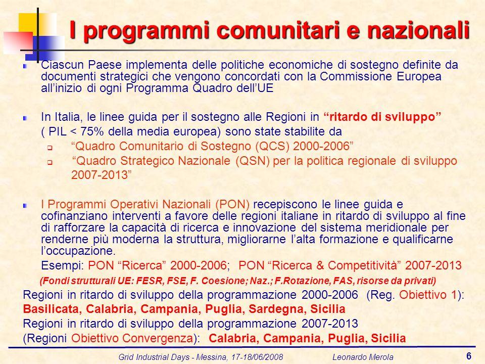 Grid Industrial Days - Messina, 17-18/06/2008 Leonardo Merola 6 I programmi comunitari e nazionali Ciascun Paese implementa delle politiche economiche di sostegno definite da documenti strategici che vengono concordati con la Commissione Europea allinizio di ogni Programma Quadro dellUE In Italia, le linee guida per il sostegno alle Regioni in ritardo di sviluppo ( PIL < 75% della media europea) sono state stabilite da Quadro Comunitario di Sostegno (QCS) 2000-2006 Quadro Strategico Nazionale (QSN) per la politica regionale di sviluppo 2007-2013 I Programmi Operativi Nazionali (PON) recepiscono le linee guida e cofinanziano interventi a favore delle regioni italiane in ritardo di sviluppo al fine di rafforzare la capacità di ricerca e innovazione del sistema meridionale per renderne più moderna la struttura, migliorarne lalta formazione e qualificarne loccupazione.