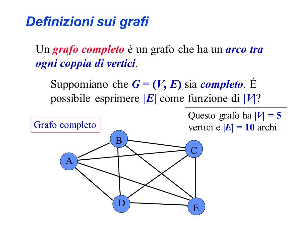 Un grafo completo è un grafo che ha un arco tra ogni coppia di vertici. Suppomiano che G = (V, E) sia completo. É possibile esprimere |E| come funzion