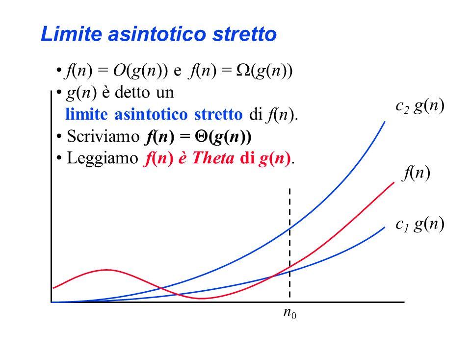 Limite asintotico stretto f(n)f(n) c 1 g(n) f(n) = O(g(n)) e f(n) = (g(n)) g(n) è detto un limite asintotico stretto di f(n).