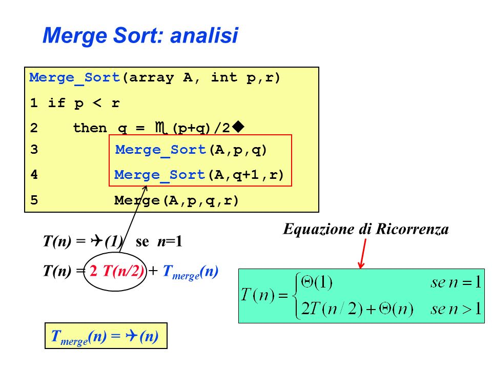 Merge Sort: analisi Merge_Sort(array A, int p,r) 1 if p < r 2 then q = (p+q)/2 3 Merge_Sort(A,p,q) 4 Merge_Sort(A,q+1,r) 5 Merge(A,p,q,r) T(n) = (1) se n=1 T(n) = 2 T(n/2) + T merge (n) T merge (n) = (n) Equazione di Ricorrenza