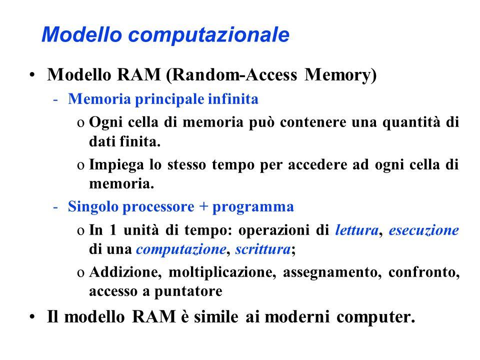 Modello computazionale Modello RAM (Random-Access Memory) -Memoria principale infinita oOgni cella di memoria può contenere una quantità di dati finita.