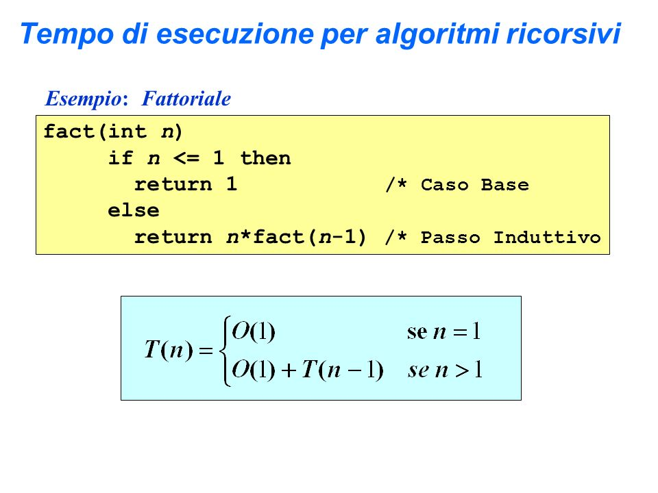 Tempo di esecuzione per algoritmi ricorsivi Esempio: Fattoriale fact(int n) if n <= 1 then return 1 /* Caso Base else return n*fact(n-1) /* Passo Indu