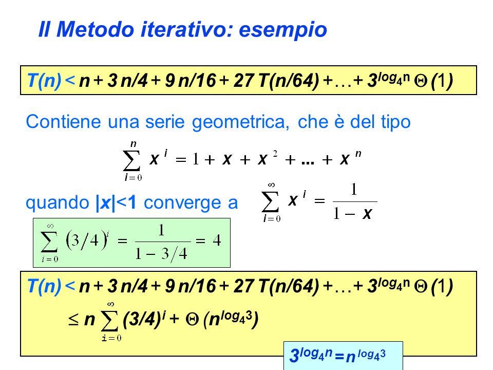 Il Metodo iterativo: esempio T(n) < n + 3 n/4 + 9 n/16 + 27 T(n/64) +…+ 3 log 4 n (1) Contiene una serie geometrica, che è del tipo quando |x|<1 converge a T(n) < n + 3 n/4 + 9 n/16 + 27 T(n/64) +…+ 3 log 4 n (1) n (3/4) i + (n log 4 3 ) 3 log 4 n = n log 4 3