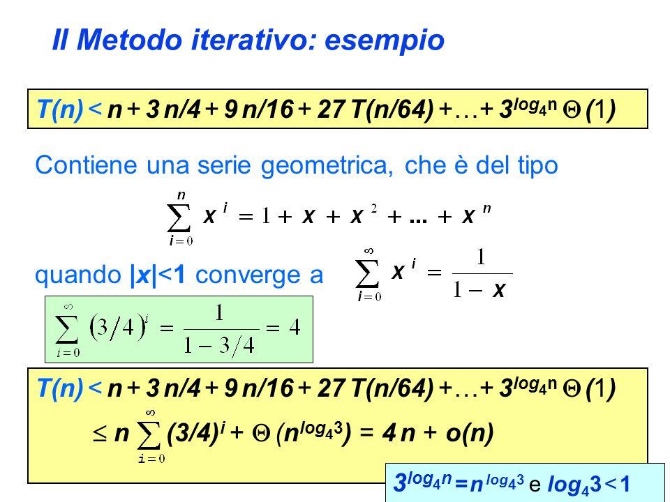 Il Metodo iterativo: esempio T(n) < n + 3 n/4 + 9 n/16 + 27 T(n/64) +…+ 3 log 4 n (1) Contiene una serie geometrica, che è del tipo quando |x|<1 converge a T(n) < n + 3 n/4 + 9 n/16 + 27 T(n/64) +…+ 3 log 4 n (1) n (3/4) i + (n log 4 3 ) = 4 n + o(n) 3 log 4 n = n log 4 3 e log 4 3 < 1
