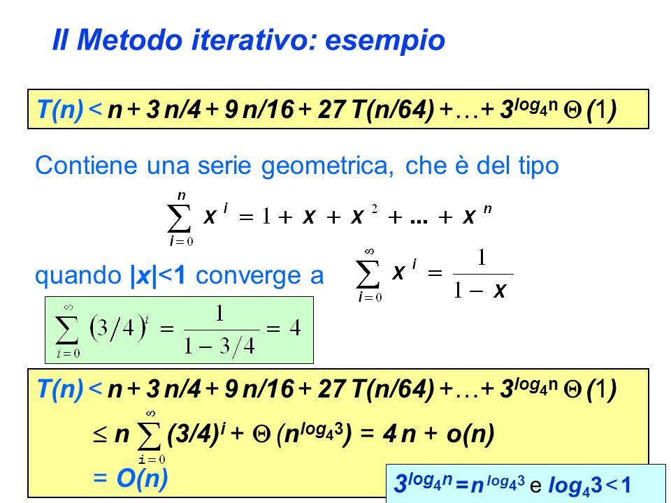 Il Metodo iterativo: esempio T(n) < n + 3 n/4 + 9 n/16 + 27 T(n/64) +…+ 3 log 4 n (1) Contiene una serie geometrica, che è del tipo quando |x|<1 converge a T(n) < n + 3 n/4 + 9 n/16 + 27 T(n/64) +…+ 3 log 4 n (1) n (3/4) i + (n log 4 3 ) = 4 n + o(n) = O(n) 3 log 4 n = n log 4 3 e log 4 3 < 1