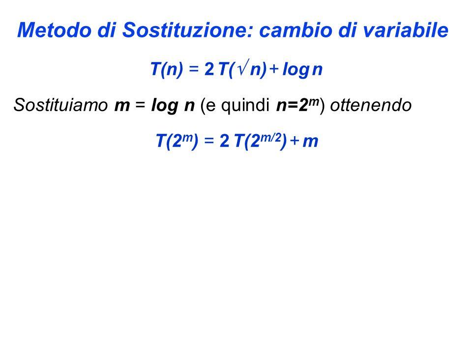 Metodo di Sostituzione: cambio di variabile T(n) = 2 T( n) + log n Sostituiamo m = log n (e quindi n=2 m ) ottenendo T(2 m ) = 2 T(2 m/2 ) + m