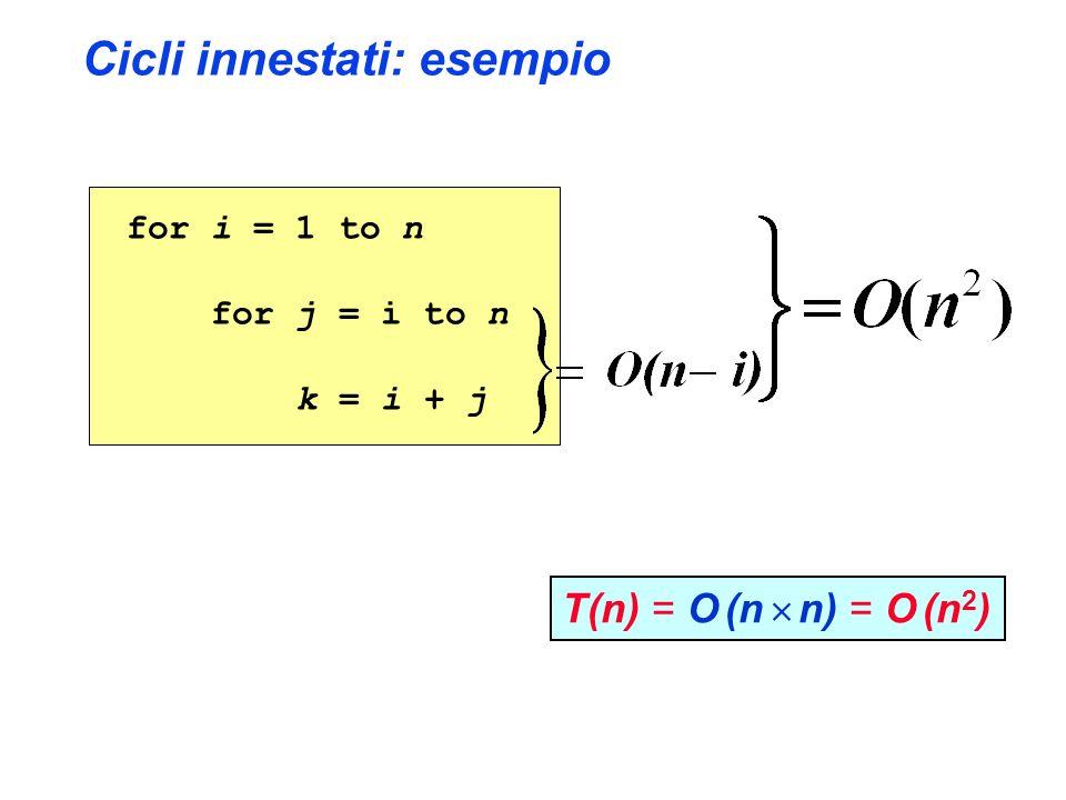 Cicli innestati: esempio for i = 1 to n for j = i to n k = i + j T(n) = O (n n) = O (n 2 )