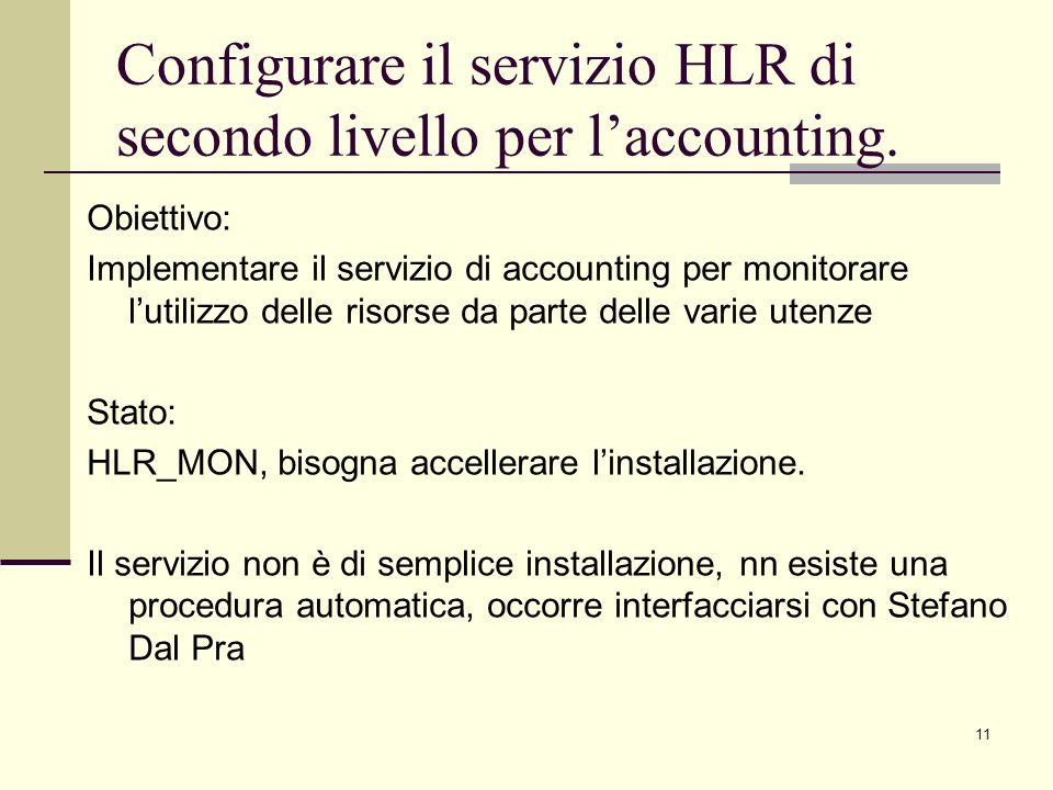 11 Obiettivo: Implementare il servizio di accounting per monitorare lutilizzo delle risorse da parte delle varie utenze Stato: HLR_MON, bisogna accellerare linstallazione.