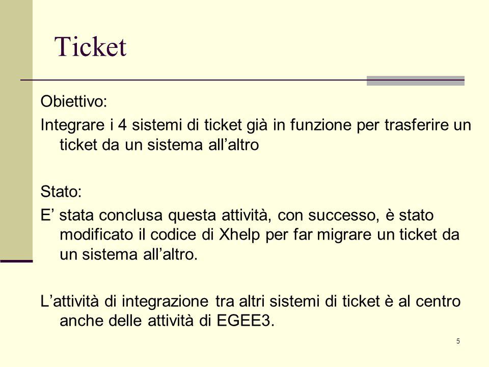 5 Obiettivo: Integrare i 4 sistemi di ticket già in funzione per trasferire un ticket da un sistema allaltro Stato: E stata conclusa questa attività, con successo, è stato modificato il codice di Xhelp per far migrare un ticket da un sistema allaltro.