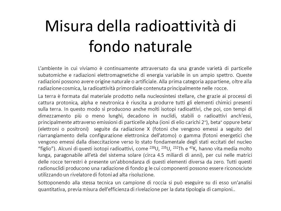 Misura della radioattività di fondo naturale Lambiente in cui viviamo è continuamente attraversato da una grande varietà di particelle subatomiche e r