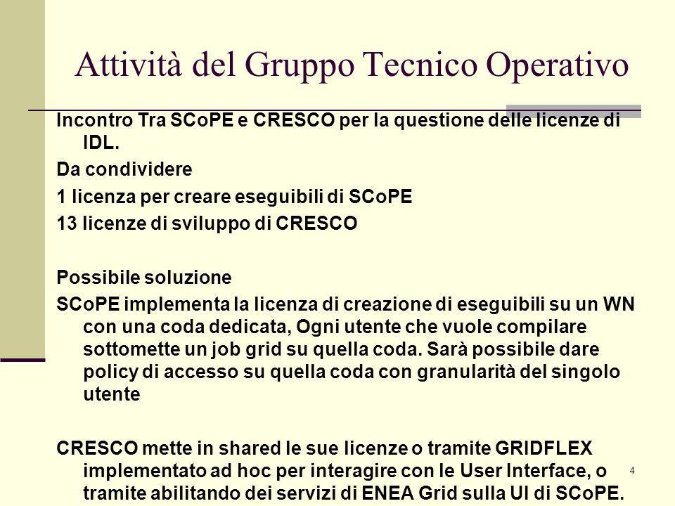 4 Attività del Gruppo Tecnico Operativo Incontro Tra SCoPE e CRESCO per la questione delle licenze di IDL.