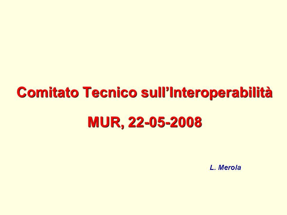 Agenda della riunione del Comitato Tecnico sullInteroperabilità dei progetti dellAvviso 1575/2004 MUR, P.le Kennedy, 20 – EUR ROMA 22 maggio 2008 - Ore 10, Sala Fazio – I piano 1) Resoconto dellinaugurazione del Centro CRESCO.