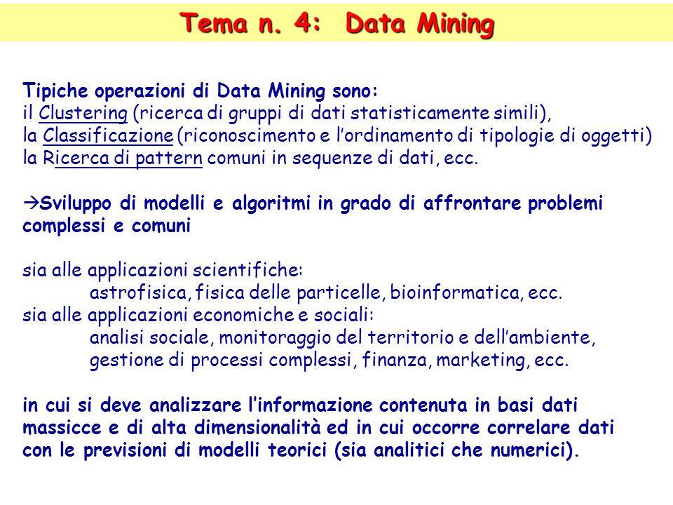 Tipiche operazioni di Data Mining sono: il Clustering (ricerca di gruppi di dati statisticamente simili), la Classificazione (riconoscimento e lordinamento di tipologie di oggetti) la Ricerca di pattern comuni in sequenze di dati, ecc.