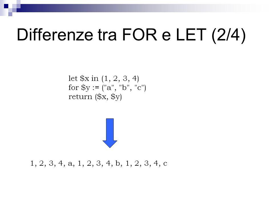 Differenze tra FOR e LET (2/4) let $x in (1, 2, 3, 4) for $y := ( a , b , c ) return ($x, $y) 1, 2, 3, 4, a, 1, 2, 3, 4, b, 1, 2, 3, 4, c