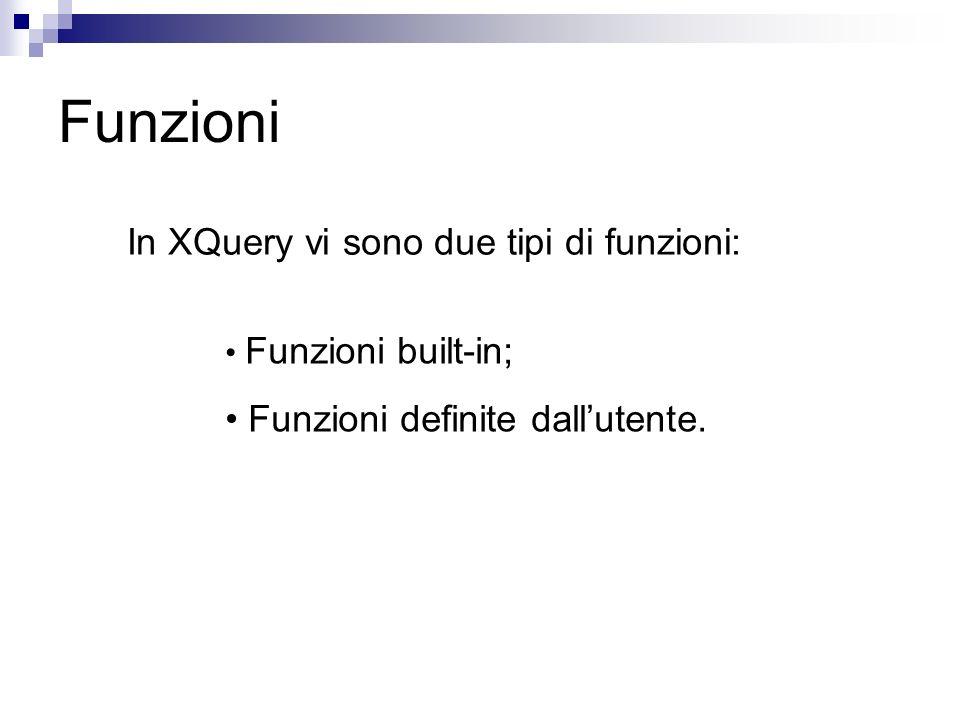 Funzioni In XQuery vi sono due tipi di funzioni: Funzioni built-in; Funzioni definite dallutente.